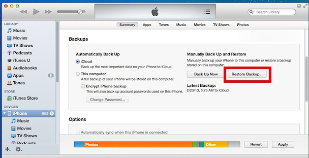 Restore Deleted Data on iPhone from iTunes Backup